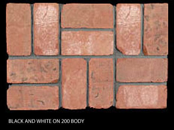 Marion Ceramics - Tumbled BrickTile - Black and White on 200 Body